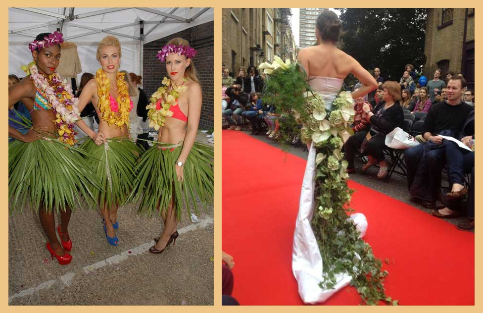 hawaiian flower couture and wedding dress with flower couture and ivy train