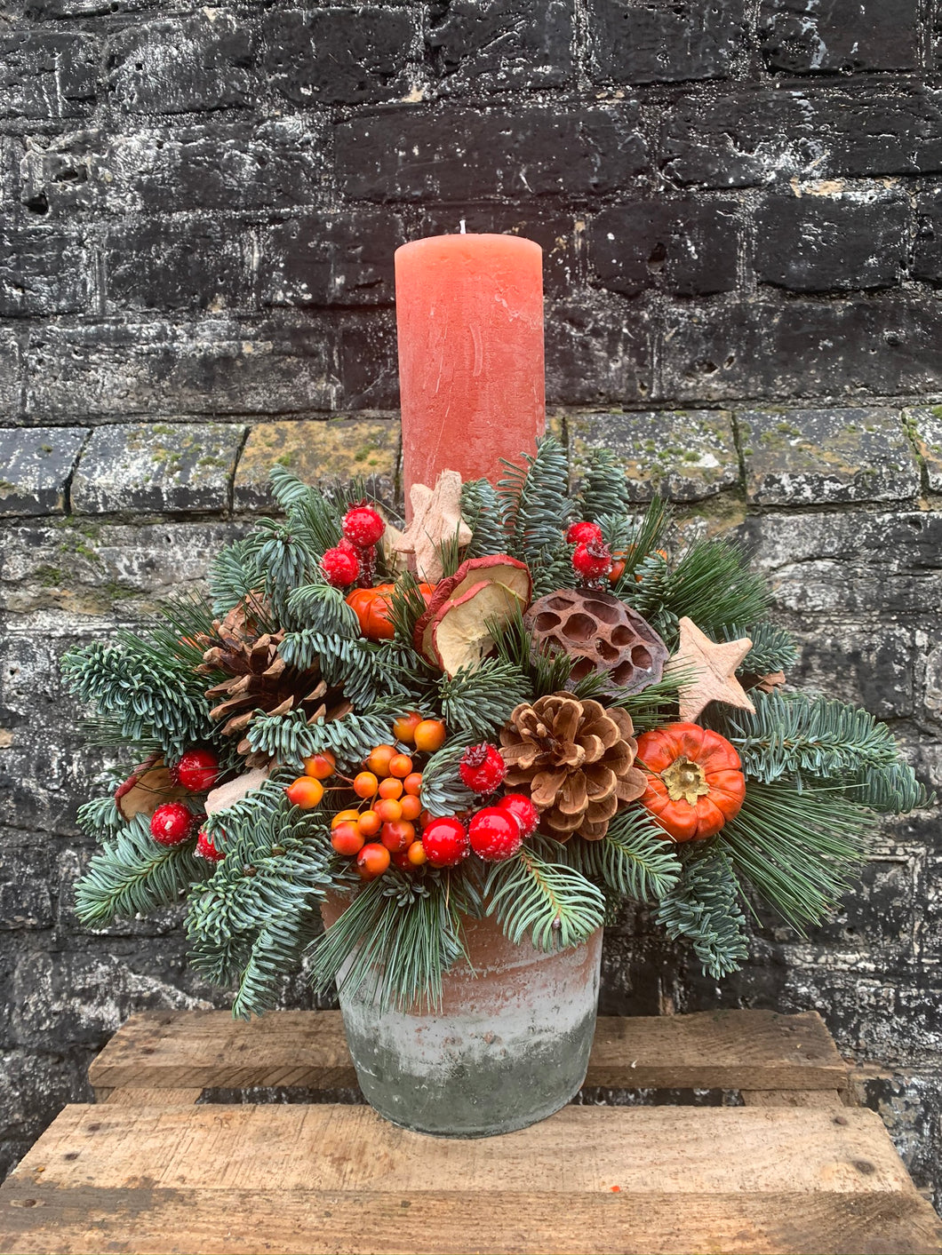 Natural Christmas Candle Pot arrangement
