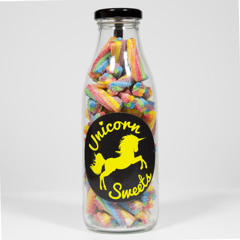 Sweet Filled Milk Bottle Containing Sour Candy Shocks