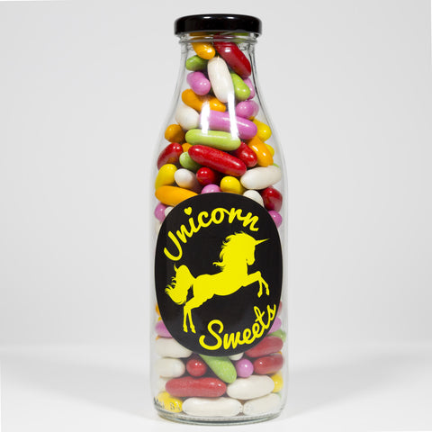 Sweet Filled Milk Bottle Containing Liquorice Comfits