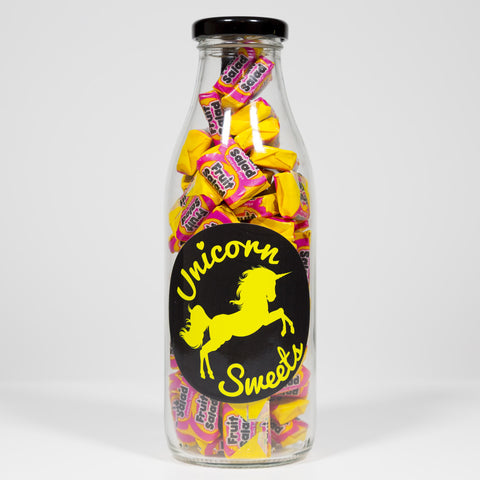 Sweet Filled Milk Bottle Containing Fruit Salad Chews
