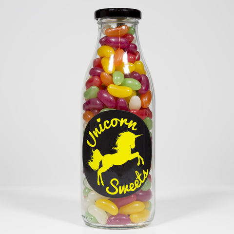 Sweet Filled Milk Bottle Containing Haribo Jelly Beans