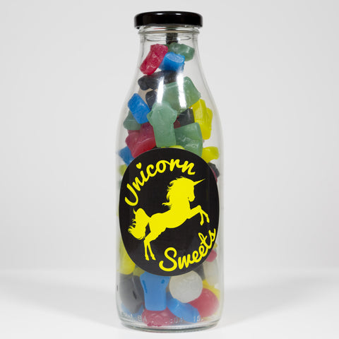 Sweet Filled Milk Bottle Containing Football Mix