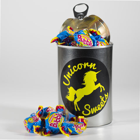 Sweet Filled Tin Can Containing Bubbly Bubble Gum