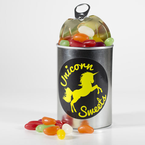 Sweet Filled Tin Can Containing Haribo Jelly Beans