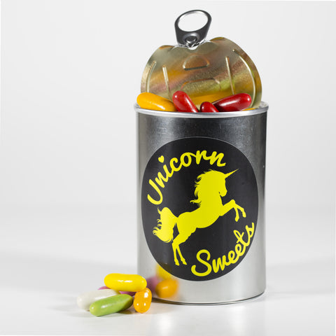 Sweet Filled Tin Can Containing Liquorice Comfits