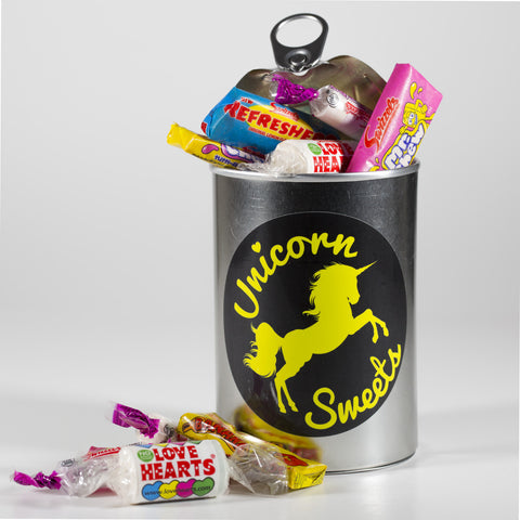 Sweet Filled Tin Can Containing Mini Sweet Mix
