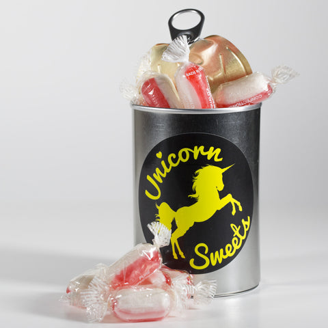 Sweet Filled Tin Can Containing Strawberry and Cream