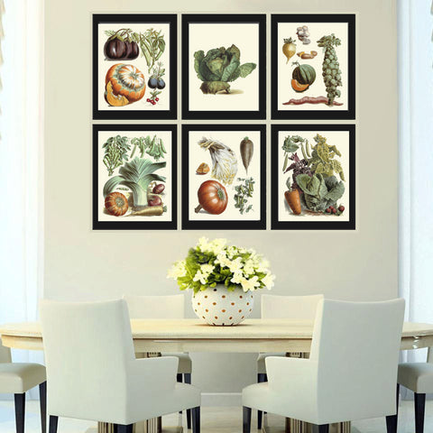 Botanical Vegetable Print Set of 6 Art  Redoute Antique Beautiful Pumpkin Cabbage Illustration Kitchen Dining Room Garden Wall Decor