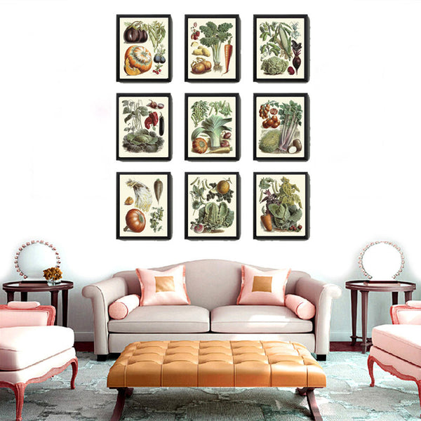 Botanical Vegetable Print Set of 9 Art  Redoute Antique Beautiful Pumpkin Cabbage Illustration Kitchen Dining Room Garden Wall Decor