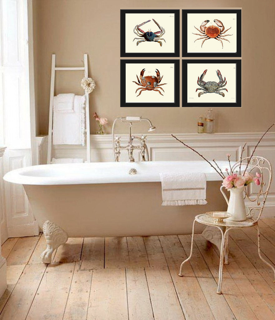 Crab Print SET Of 4 Art Beautiful Antique Vintage Illustration Sea Ocean Coastal Marine Decor Bathroom