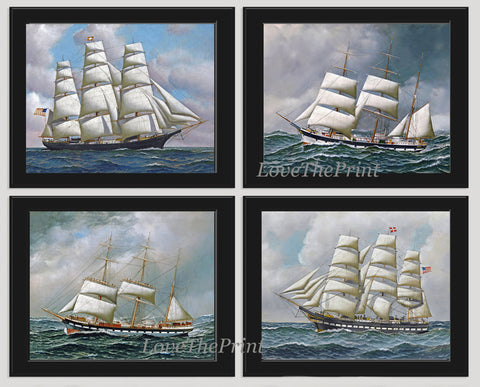 Ship Print SET of 4 Wall Art Beautiful Antique Illustration Sea Ocean Coastal Boat Marine Office Beach House Boy Room Playroom Home AJ