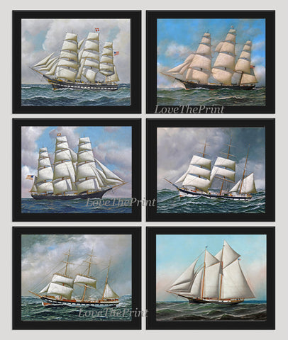 Antique Ship Print Set of 6 Wall Art Beautiful Illustration Sea Ocean Coastal Boat Marine Office Beach House Playroom Nursery Home Decor  AJ