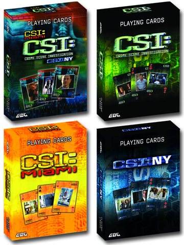 CSI PLAYING CARDS 4-PACK (3 SHOWS), CSI MIAMI, NEW YORK & LAS VEGAS