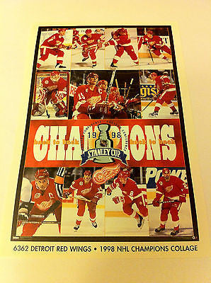 NHL 1998 STANLEY CUP CHAMPS MINI POSTER 4 X 6 INCHES, DETROIT RED WINGS