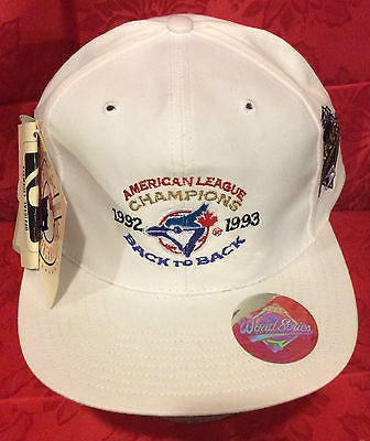 MLB 1992-93 BACK TO BACK AMERICAN LEAGUE CHAMPS ADJUSTABLE HAT, TORONTO BLUE JAYS, NEW, VINTAGE