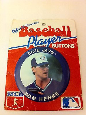 MLB TOM HENKE PLAYER BUTTON, TORONTO BLUE JAYS, 1990