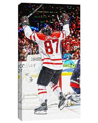 TEAM CANADA SIDNEY CROSBY 2010 OLYMPICS GOLD MEDAL GOAL 14X28 ART CANVAS