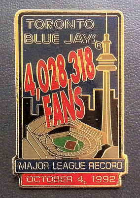 MLB TORONTO BLUE JAYS LAPEL PIN, MLB ATTENDANCE RECORD OCTOBER 4, 1992