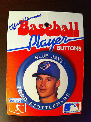 MLB TODD STOTTLEMYRE PLAYER BUTTON, TORONTO BLUE JAYS, 1991