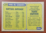 MLB TONY GWYNN TOPPS #599 BASEBALL CARD 1987 AS SAN DIEGO PADRES NM-MINT