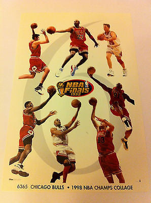 NBA 1998 CHAMPIONS MINI POSTER 4 X 6 INCHES, MICHAEL JORDAN, CHICAGO BULLS