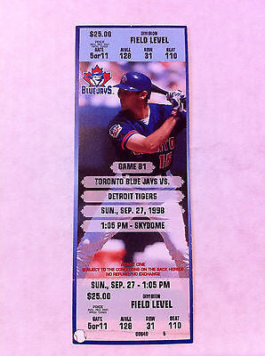 MLB ROY HALLADAY 1ST WIN GAME, FULL TICKET, TORONTO BLUE JAYS, SEPTEMBER 27, 1998