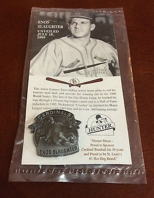 MLB ENOS SLAUGHTER, ST.LOUIS CARDINALS, STATUE UNVEILING LAPEL PIN, 1999