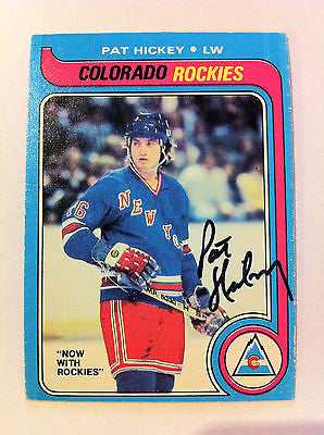 NHL PAT HICKEY AUTOGRAPHED 1979-80 OPC O-PEE-CHEE CARD #86 COLORADO ROCKIES EX