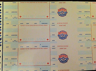 MLB TORONTO BLUE JAYS, WORLD SERIES CHAMPS 92-93 LOGO UNPRINTED/UNCUT TICKETS, SHEET OF 6 TICKETS