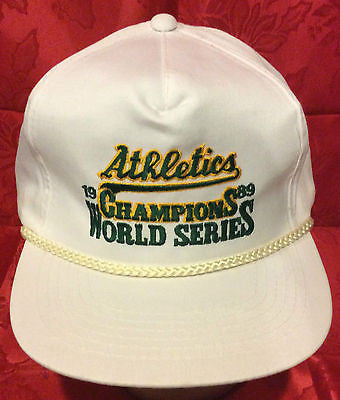 MLB 1989 WORLD SERIES CHAMPS ADJUSTABLE HAT, OAKLAND A'S, NEW, VINTAGE