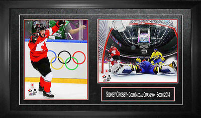 TEAM CANADA SIDNEY CROSBY FRAMED TWO 8X10 PHOTOS -  2014 OLYMPICS SOCHI