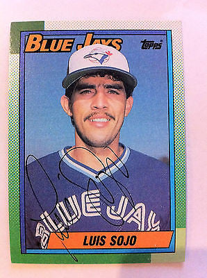 MLB LUIS SOJO AUTOGRAPHED TOPPS ROOKIE CARD #594 1990 TORONTO BLUE JAYS MINT