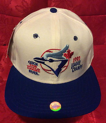 MLB 1992 AMERICAN LEAGUE CHAMPS ADJUSTABLE HAT, TORONTO BLUE JAYS, NEW, VINTAGE, TAGS