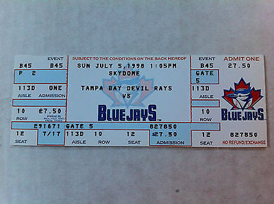 MLB ROGER CLEMENS 3000K GAME FULL TICKET, TORONTO BLUE JAYS, JULY 5, 1998, NM-MINT