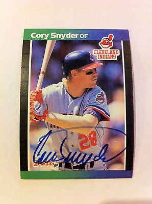MLB CORY SNYDER AUTOGRAPHED DONRUSS CARD #191,1989, CLEVELAND INDIANS, NM-MINT