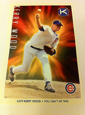 MLB KERRY WOOD MINI POSTER, 4 X 6 INCHES, BASEBALL, CHICAGO CUBS, MINT