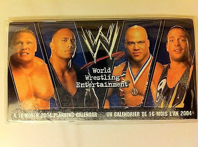 WWE WRESTLING 2004, 16-MONTH PLANNING CALENDAR, LESNAR, THE ROCK, ANGLE, RVD