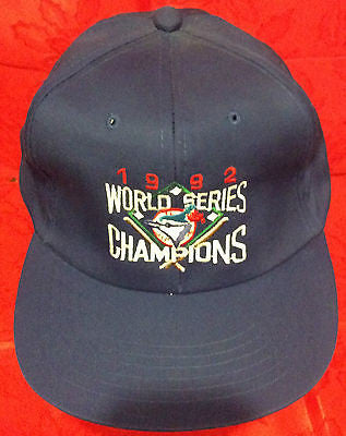 MLB 1992 WORLD SERIES CHAMPIONS ADJUSTABLE HAT, TORONTO BLUE JAYS, NEW, VINTAGE