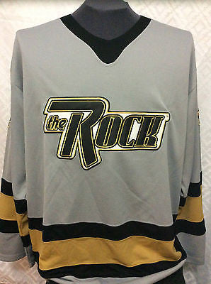 WWF WWE THE ROCK HOCKEY JERSEY, OFFICIAL, VINTAGE, GREY, SIZE LARGE