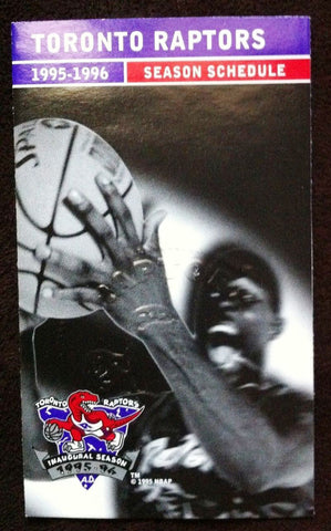 NBA TORONTO RAPTORS 1ST SEASON,1995-96 SCHEDULE WITH CORPORATE SEAL