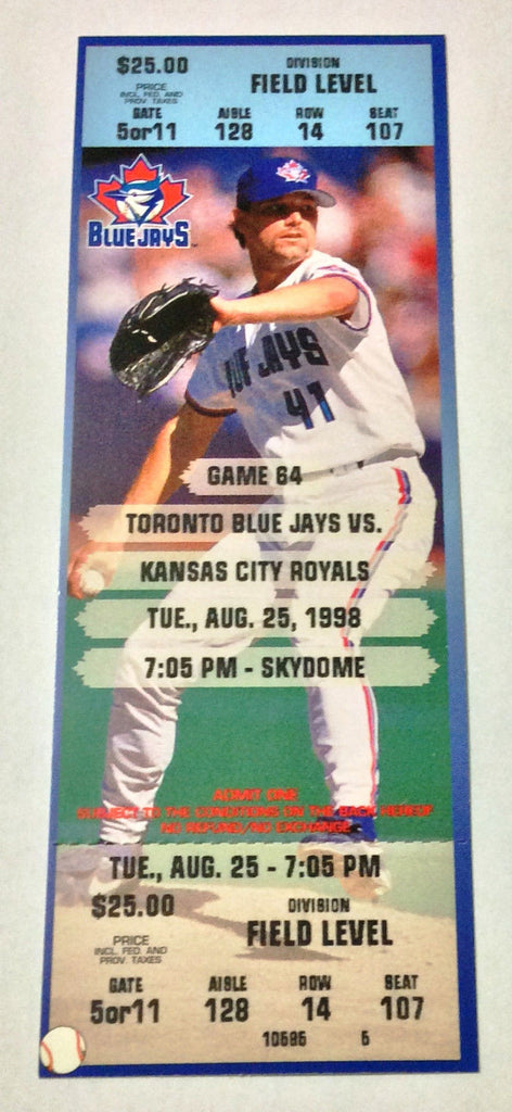 MLB ROGER CLEMENS 18K GAME, FULL TICKET, TORONTO BLUE JAYS, AUG 25,1998