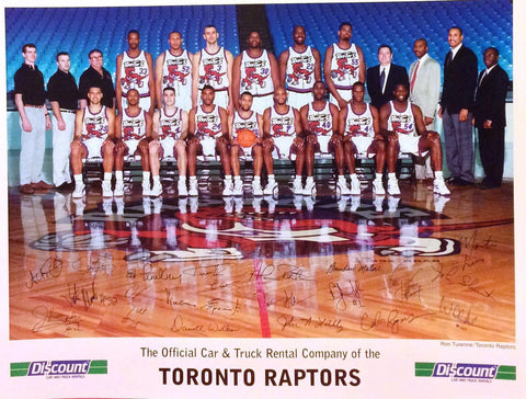 NBA TORONTO RAPTORS 1ST SEASON,1995-96 TEAM PHOTO, CORP SEAL, PRE-PRINTED AUTOGRAPHS