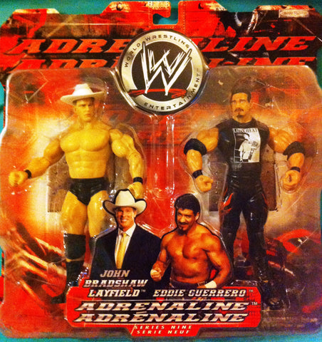 WWE JBL & EDDIE GUERRERO, JAKKS ADRENALINE ACTION FIGURES CANADIAN VERSION, NIP, 2004