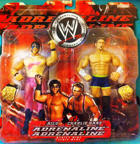 WWE RICO & CHARLIE HASS, JAKKS ADRENALINE ACTION FIGURES CANADIAN VERSION, NIP, 2004