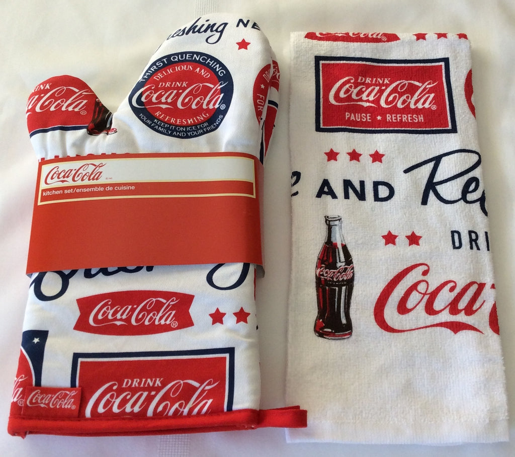 COCA COLA (COKE) OVEN MITT SET, TEA TOWEL, APRON