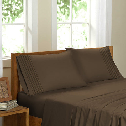 Swiss Collection Luxury 3600 Series Egyptian Comfort Sateen Sheet Set - Brown