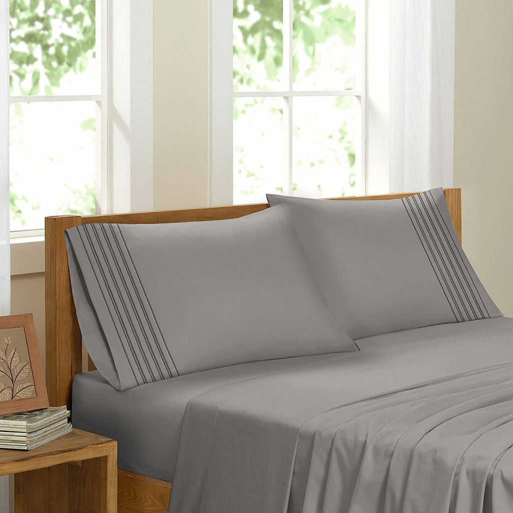 Swiss Collection Luxury 3600 Series Egyptian Comfort Sateen Sheet Set - Charcoal Grey