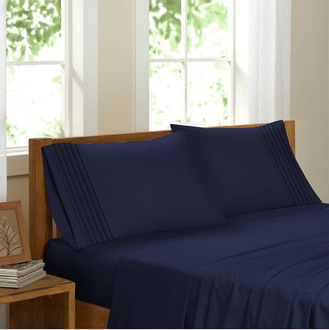 Swiss Collection Luxury 3600 Series Egyptian Comfort Sateen Sheet Set - Navy Blue