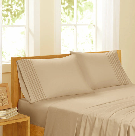 Swiss Collection Luxury 3600 Series Egyptian Comfort Sateen Sheet Set - Taupe